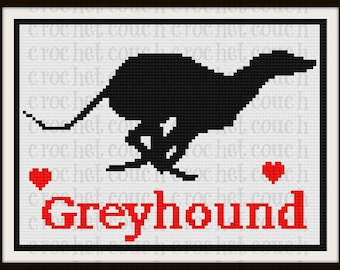 Greyhound Silhouette C2C Graph with Written Word Chart