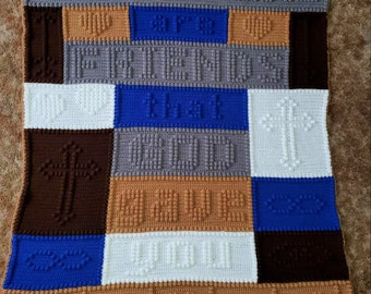 Brothers Afghan, Bobble Stitch Crochet Pattern, Written Row by Row, Color Counts, Instant Download, Graphgan Pattern, Graphgan