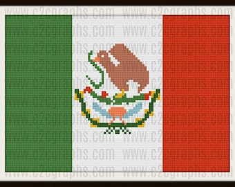 Mexico Flag Afghan, C2C Crochet Pattern, Written Row Counts, C2C Graphs, Corner to Corner, Crochet Pattern, C2C Graph