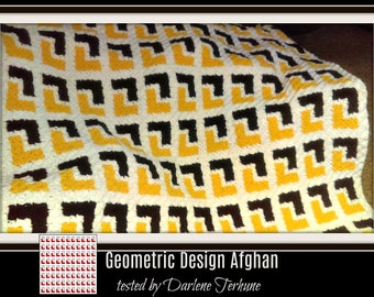 Geometric Design Afghan, C2C Crochet Pattern, Written Row Counts, C2C Graphs, Corner to Corner, Crochet Pattern, C2C Graph