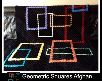 Geometric Squares Afghan, C2C Crochet Pattern, Written Row Counts, C2C Graphs, Corner to Corner Crochet Pattern, C2C Graph