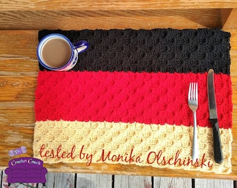 Germany Flag Placemat, C2C Crochet Pattern, Written Row by Row, Color Counts, Instant Download, C2C Graph, C2C Pattern, C2C Crochet