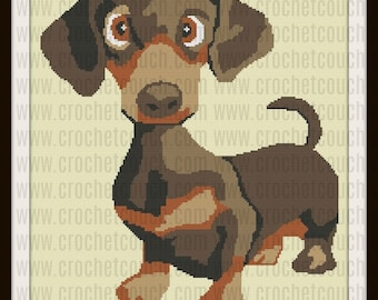 Dachshund Pup Afghan, SC and TSS Crochet Pattern, Written Row Counts