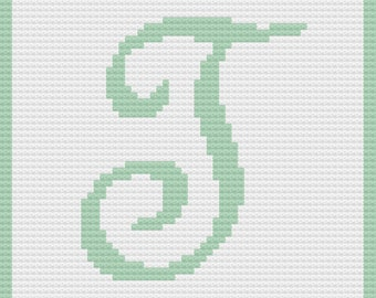 Letter T Baby Afghan, C2C Crochet Pattern, Written Row by Row, Color Counts, Instant Download, C2C Graph, C2C Pattern, Graphgan Pattern