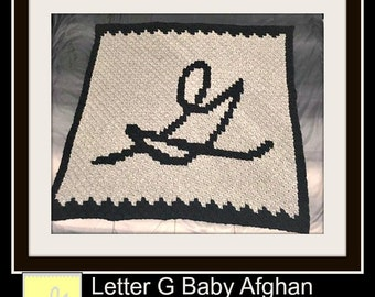 Letter G Baby Afghan, C2C Crochet Pattern, Written Row Counts, C2C Graphs, Corner to Corner, Crochet Pattern, C2C Graph