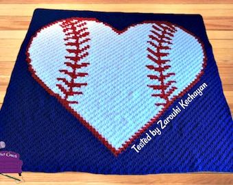 Baseball Stitch, Heart Afghan, C2C Crochet Pattern, Written Row by Row, Color Counts, Instant Download