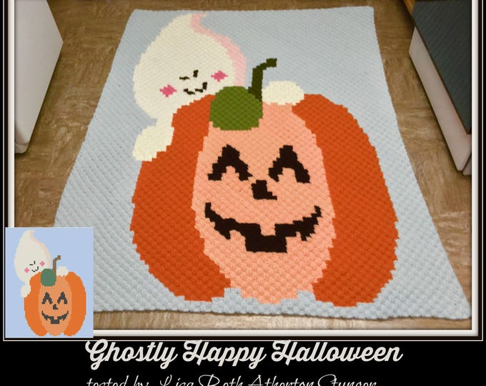 Featured listing image: Ghostly Happy Halloween Afghan, C2C Graph, Crochet Pattern