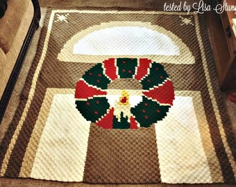 Christmas Wreath on Door Afghan C2C Crochet Pattern, Written Row Counts, C2C Graphs, Corner to Corner Crochet Pattern, Graphgan, Wreath C2C