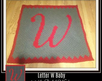 Letter W Baby Afghan, C2C Crochet Pattern, Written Row Counts, C2C Graphs, Corner to Corner, Crochet Pattern, C2C Graph