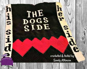 Dogs Side Afghan, C2C Crochet Pattern, Written Row by Row, Color Counts, Instant Download, C2C Graph, C2C Pattern, Graphgan