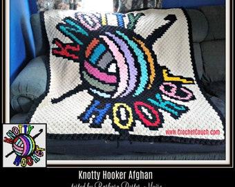 Knotty Hooker in color Afghan, C2C Crochet, Graph, & Written Word Chart, Hooker Afghan, Hooker C2C Crochet