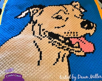 Pitbull Afghan, Uncropped Ears, C2C Crochet Pattern, Written Row by Row, Color Counts, Instant Download, C2C Graph, C2C Pattern, C2C Crochet