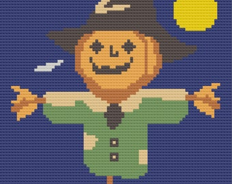 Pumpkin Head Scarecrow Afghan, C2C Crochet Pattern, Written Row by Row, Color Counts, Instant Download, C2C Graph, C2C Pattern, C2C Crochet