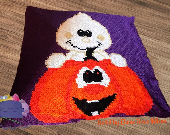 Featured listing image: Silly Pumpkin Ghost Afghan, C2C Crochet Pattern, Written Row by Row, Color Counts, Instant Download, C2C Graph, C2C Pattern, C2C Crochet