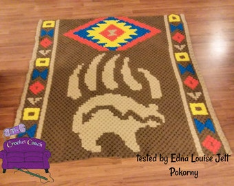 Bear Claw Afghan, C2C Crochet Pattern, Written Row by Row, Color Counts, Instant Download, C2C Graph, C2C Pattern, C2C Crochet