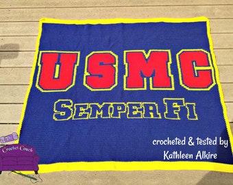 USMC Semper Fi Afghan , SC / TSS Crochet Pattern, Written Row Counts for single crochet and tunisian simple stitch