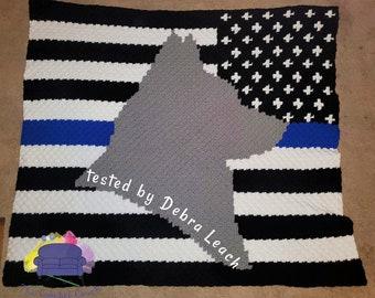 Blue Line Pup Afghan, C2C Crochet Pattern, Written Row by Row, Color Counts, Instant Download, C2C Graph, C2C Pattern, Graphgan Pattern