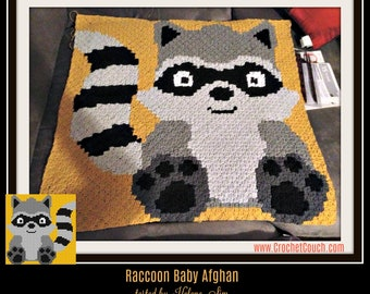Raccoon Baby Afghan, C2C Crochet Pattern, Written Row Counts, C2C Graphs, Corner to Corner, Crochet Pattern, C2C Graph