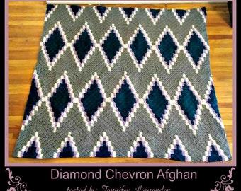 C2C Graph, Diamond Chevron Afghan, C2C Graph,  Written Word Chart, chevron graph, chevron c2c, c2c afghan