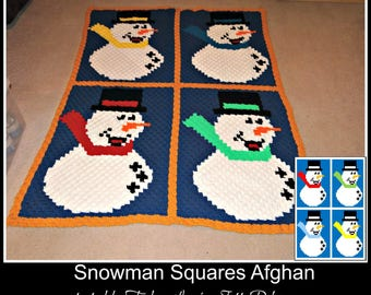 Snowman Squares Afghan, C2C Crochet Pattern, Written Row Counts, C2C Graphs, Corner to Corner, Crochet Pattern, C2C Graph