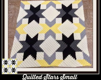 Quilted Stars Small with yellow Afghan, C2C Crochet Pattern, Written Row Counts, C2C Graphs, Corner to Corner, Crochet Pattern, C2C Graph