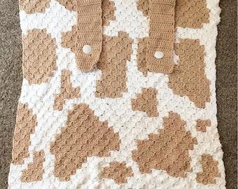 Cow Print Baby Car Seat Cover, C2C Crochet Pattern, Written Row Counts, C2C Graphs, Corner to Corner, Crochet Pattern, C2C Graph