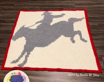 Horse Bucking Afghan, C2C Crochet Pattern, Written Row by Row, Color Counts, Instant Download, C2C Graph, C2C Pattern, Graphgan Pattern