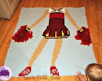Cheerleader Blanket, C2C Crochet Pattern, Written Row Counts, C2C Graphs, Corner to Corner, Crochet Pattern, C2C Graph