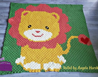 Lion Heart Tail Kids Afghan, C2C Crochet Pattern, Written Row by Row, Color Counts, Instant Download, C2C Graph, C2C Pattern, Graphgan