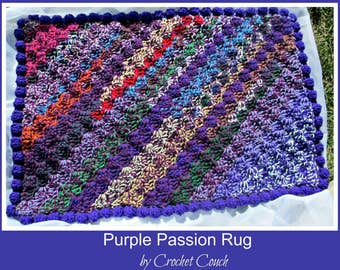 Purple Passion Rug, C2C Crochet Pattern, Written Row Counts, C2C Graphs, Corner to Corner, Crochet Pattern, C2C Graph