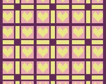 Edna Quilt Afghan C2C Crochet Pattern, Written Row by Row Counts, C2C Graphs, Corner to Corner Crochet Pattern, Graphgan, Quilt C2C Graph