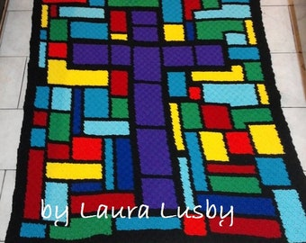 Stained Glass Cross Afghan C2C Crochet Pattern, Written Row by Row Counts, C2C Graphs, Corner to Corner Crochet Pattern, Graphgan, Cross C2C