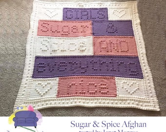 Sugar and Spice Baby Afghan, Bobble Stitch Crochet Pattern, Written Row by Row, Color Counts, Instant Download, Graphgan Pattern, Graphgan