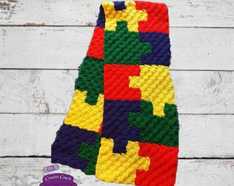 Autism Awareness Scarf C2C Crochet Pattern, Written Row Counts, C2C Graphs, Corner to Corner Crochet Pattern, Puzzle Scarf