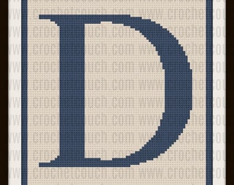 Letter D Twin Size, C2C Crochet Pattern, Written Row Counts, C2C Graphs, Corner to Corner, Crochet Pattern, C2C Graph