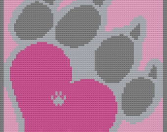 Dog Paw Heart Afghan, C2C Crochet Pattern, Written Row by Row, Color Counts, Instant Download, C2C Graph, C2C Pattern, Graphgan Pattern