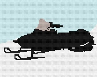 Snowmobile Silhouette Afghan, C2C Crochet Pattern, Written Row by Row, Color Counts, Instant Download