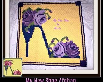 My New Shoe Afghan, C2C Crochet Pattern, Written Row Counts, C2C Graphs, Corner to Corner, Crochet Pattern, C2C Graph