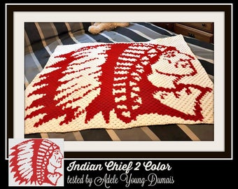 Indian Chief Afghan 2 Color, C2C Crochet Pattern, Written Row Counts, C2C Graphs, Corner to Corner, Crochet Pattern, C2C Graph