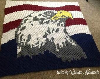 Patriotic Eagle Afghan, C2C Crochet Pattern, Written Row Counts, C2C Graphs, Corner to Corner, Crochet Pattern, C2C Graph