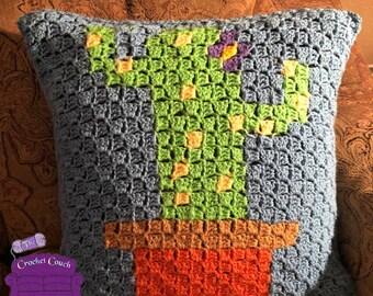 Cactus Pillow, C2C Crochet Pattern, Written Row by Row, Color Counts, Instant Download, C2C Graph, C2C Pattern, Crochet Pillow