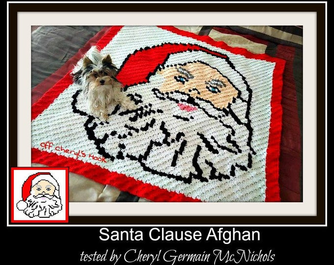Featured listing image: Santa Claus Afghan, C2C Graph, Word Chart