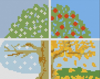 Four Seasons Tree Afghan, C2C Crochet Pattern, Written Row by Row, Color Counts, Instant Download, C2C Graph, C2C Pattern, Graphgan