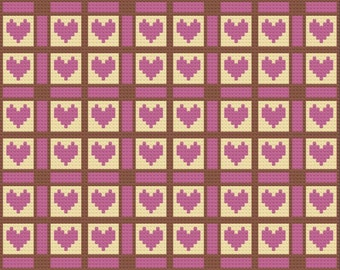 Adele Quilt Afghan, C2C Crochet Pattern, Written Row Counts, C2C Graphs, Corner to Corner Crochet Pattern, Graphgan, Quilted Ladies