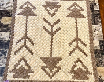 Tribal Baby Blanket, C2C Crochet Pattern, Written Row Counts, C2C Graphs, Corner to Corner, Crochet Pattern, C2C Graph