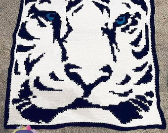 Tiger Afghan, Bobble Stitch Crochet Pattern, Written Row by Row, Color Counts, Instant Download, Graphgan Pattern, Graphgan