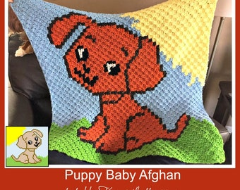 Puppy Baby Afghan, C2C Crochet Pattern, Written Row Counts, C2C Graphs, Corner to Corner, Crochet Pattern, C2C Graph