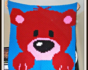 Baby Bear Afghan Blanket Red, C2C Crochet Pattern, Written Row Counts, C2C Graphs, Corner to Corner, Crochet Pattern, C2C Graph