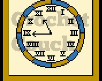 Clock Afghan, C2C Crochet Pattern, Written Row Counts, C2C Graphs, Corner to Corner, Crochet Pattern, C2C Graph