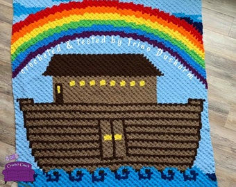 Noah's Ark Kids Afghan, C2C Crochet Pattern, Written Row by Row, Color Counts, Instant Download, C2C Graph, C2C Pattern, Graphgan Pattern